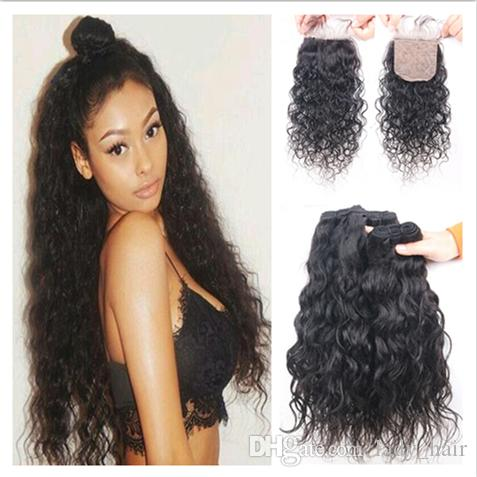 Unprocessed Brazilian Water Wave Human Hair 4x4 Silk Base Closure With 3Bundles Wet and Wavy Virgin Hair With Silk top Closure 4Pcs Lot