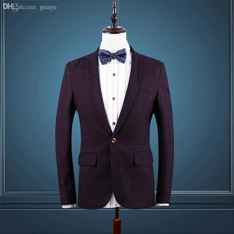 Wholesale-2016 New Arrival Suit Jacket Fashion Plaid Suit Plus Size -Clothing Mens Blazer Jacket 2 Colors Jaquetas Masculinas 102Q50