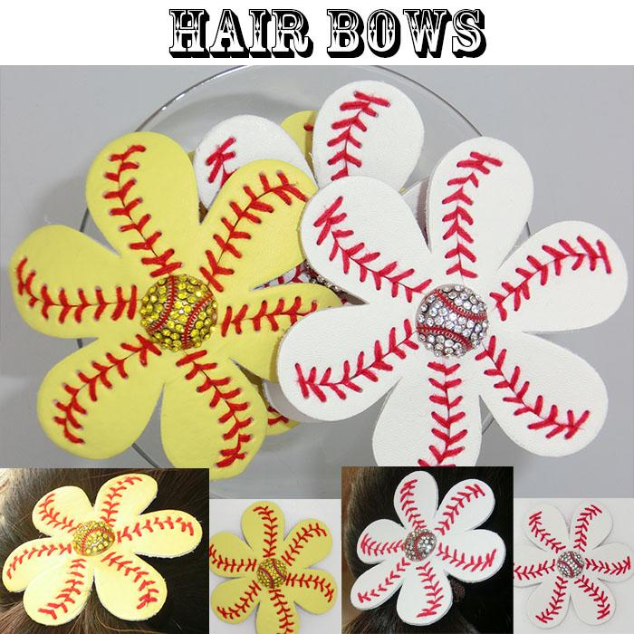 wholesale 2016 new Softball or baseball red Suture Flower Accessory and hair clip,softball hair bows Hairbow cegate fast free DHL 100pcs