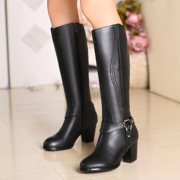 Botas de cuero auténtico talón de espesor de alta de la pierna 32 33 40 43 44 yardas pequeños zapatos de tacón alto plataforma de los 6cm 1 CM Tamaño del EUR 31-45