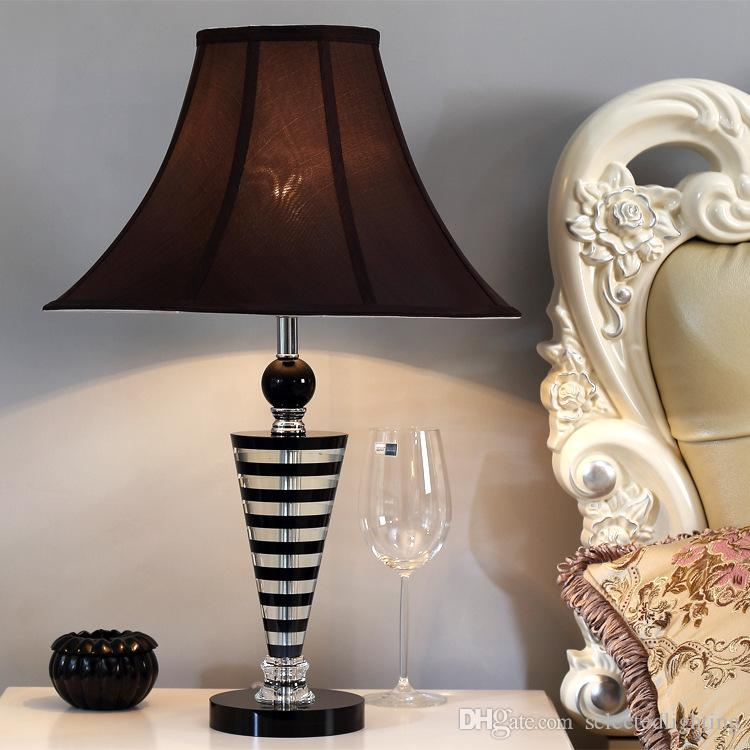 Luxury Crystal Table Lamp with Fabric Shade Bedside Light Bedroom Table Lamps E27 110V 220V Home Decor Lighting