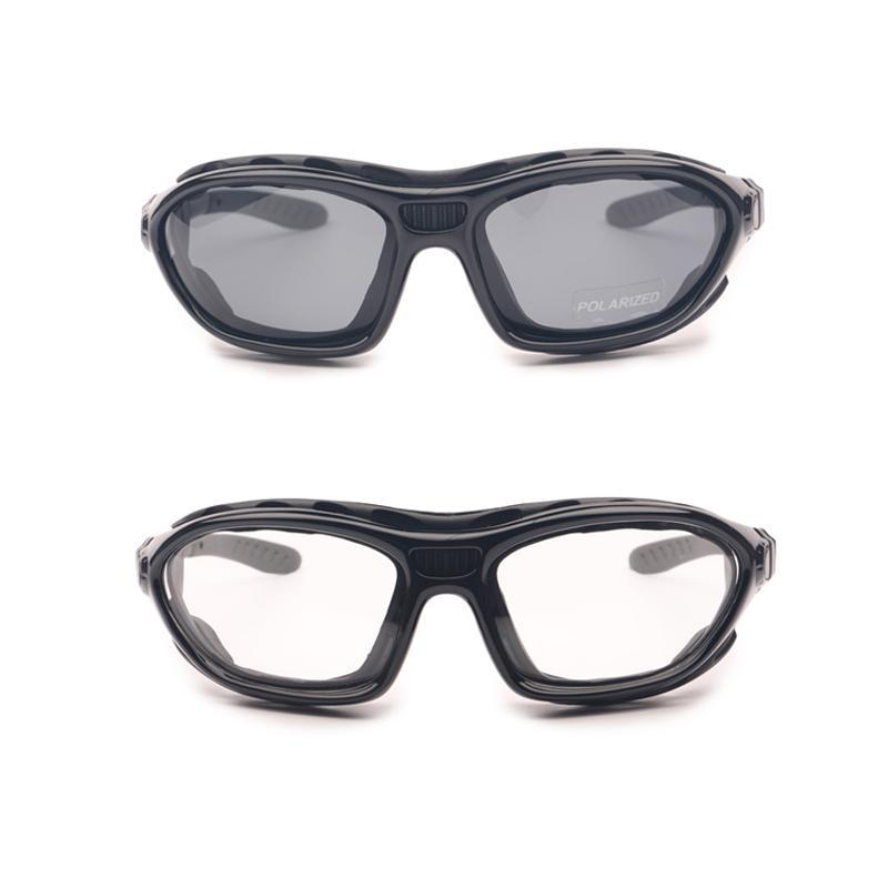 Gafas de moto polarizadas Clear 2 pares para la noche de día, Bike Off Road Racing Gafas de sol, gafas de casco con la correa de los templos