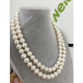Commercio all'ingrosso doppio filo 11-12mm south sea round bianco collana di perle 18 pollici 19 pollici 14 k fermaglio in oro