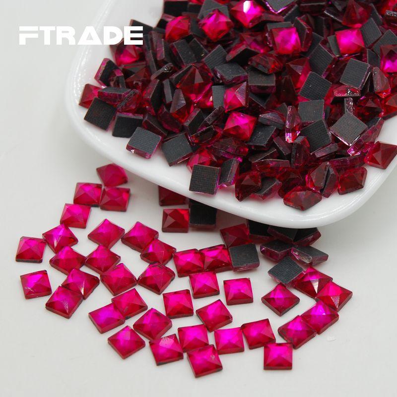 Ücretsiz Kargo 6x6mm 110 adet Gül Renk Craft Kristaller strass Kare Şekli Tutkal DMC Düzeltme Rhinestones Flatback Giysileri Için