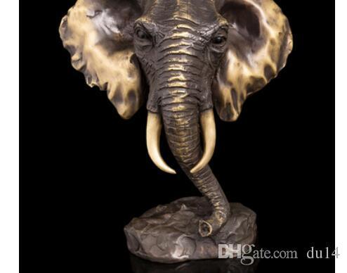 Медь Латунь КИТАЙСКИЙ поделки Азиатская Современная Скульптура Бронзовая Статуэтка Фэн-Шуй Статуя Слон Голова Бюст Скульптура Бронза
