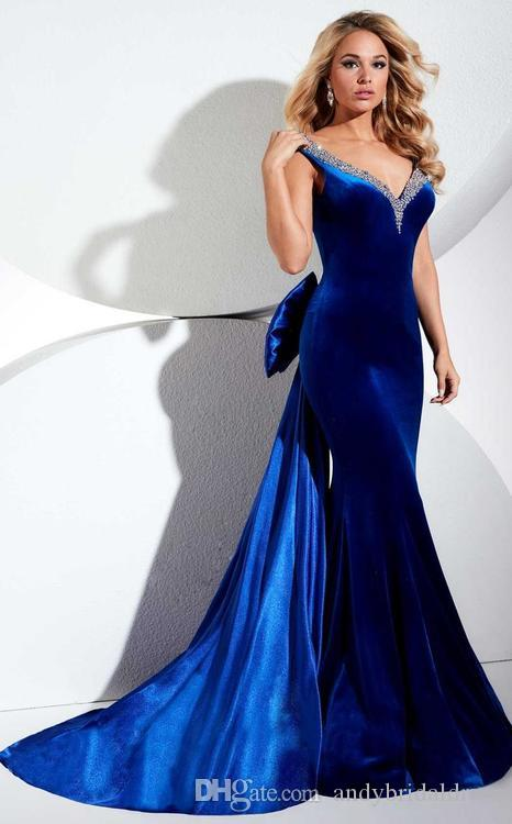 Elegant Open V Neck Beaded New Evening Dress Plus Size Pageant Dresses With  Big Bow Watteau Train Velvet Arabian Evening Dresses Prom Gowns Simple ...