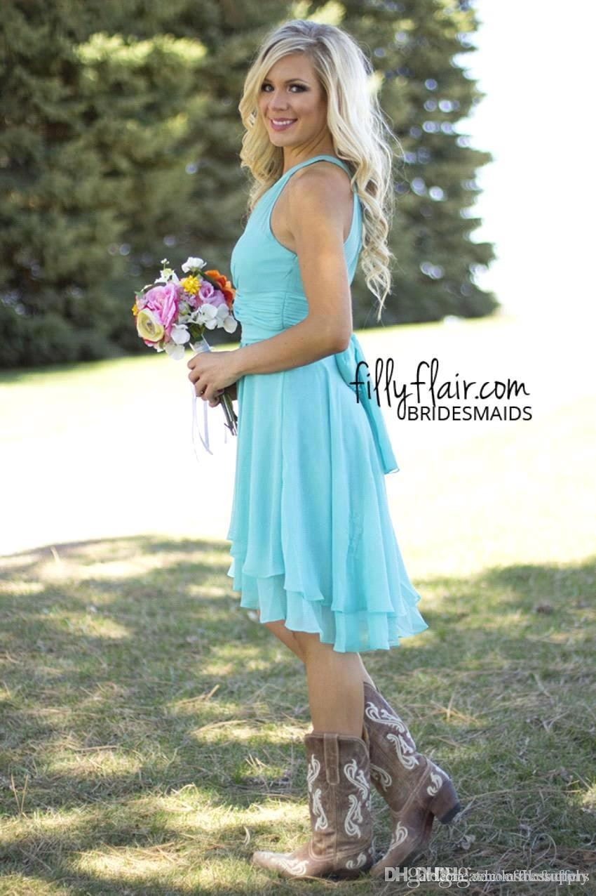 High low wedding dresses with cowboy boots vosoi cheap country style short bridesmaid dresses mint 2017 high low ombrellifo Choice Image