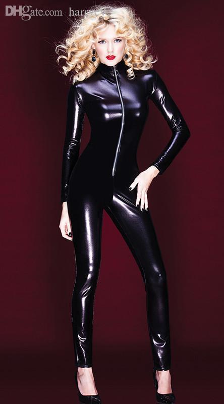 도매 최신 성인 여성 섹시한 특허 가죽 Leotard 스타킹 젖은 보이는 앞 지퍼 점프 PVC 비닐 라텍스 바디 슈트 DJ Clubwear 댄스