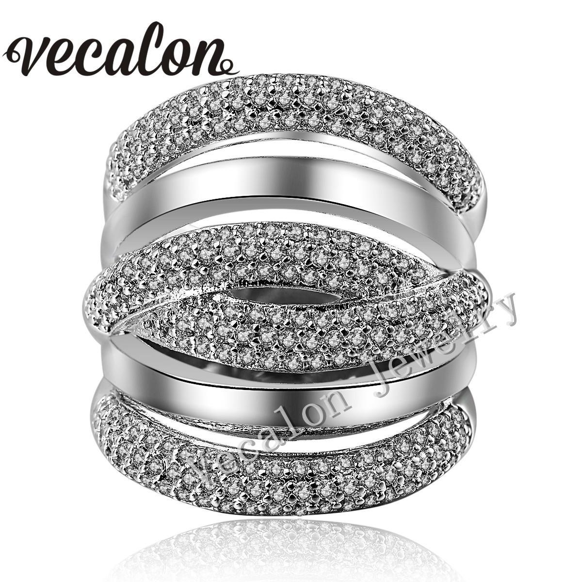 Vecalon 포장 세트 234pcs 토파즈 시뮬레이션 된 다이아몬드 Cz 크로스 약혼 결혼 반지 여자 14KT 화이트 골드 채워진 여성 밴드 반지