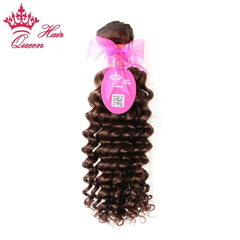 "Queen Hair Brazilian Deep Wave Human Hair Weave 1pc 14""-20""#2 Color Brazilian Virgin Hair Extensions Natural Brown DHL Free"