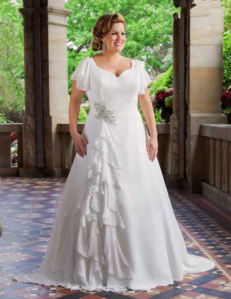 Discount 2017 New Plus Size Wedding Dresses Short Sleeve V Neck Beaded  Ruffles Chiffon A Line Bridal Gowns Lace Up Back Custom Made Wedding  Dresses ...