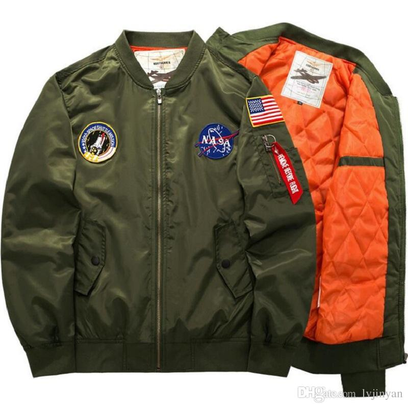 Herren Männer Masculino Casaco Windbreaker Warm Pilot Jacke Plus Military Nasa Kleidung Ma1 Padded Bomber Flug Jacken Logo Großhandel Air Größe Force eCQWxBrdoE