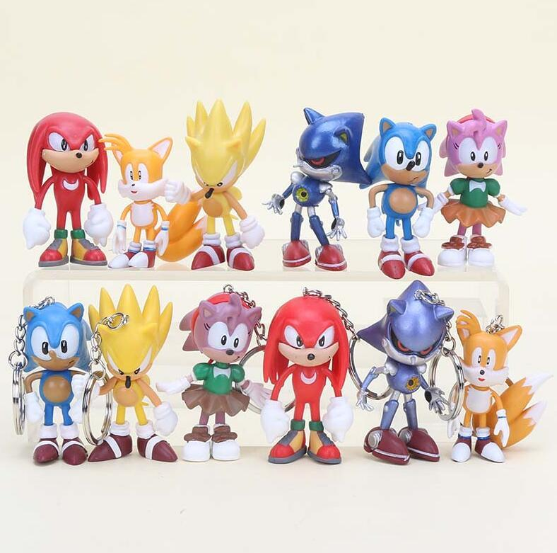 New Sega Sonic the Hedgehog Caractors Figures Soft PVC Key Ring Chain Gift