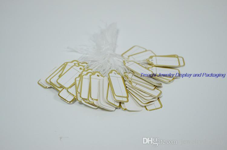 Envío gratis exhibición de la joyería 500pcs etiquetas de precio para la etiqueta de papel dorado de la joyería con cadena colgar etiqueta