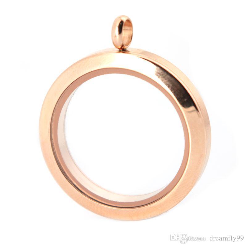 10 stücke 30mm runde schraube rose gold plain edelstahl Memory living glas medaillon anhänger, glas medaillon schwimm charme für Wome