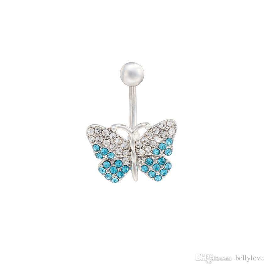 18K White Gold Plated Clear Blue Crystal Full Paved Butterfly Navel Button Ring Piercing Body Jewelry for Women