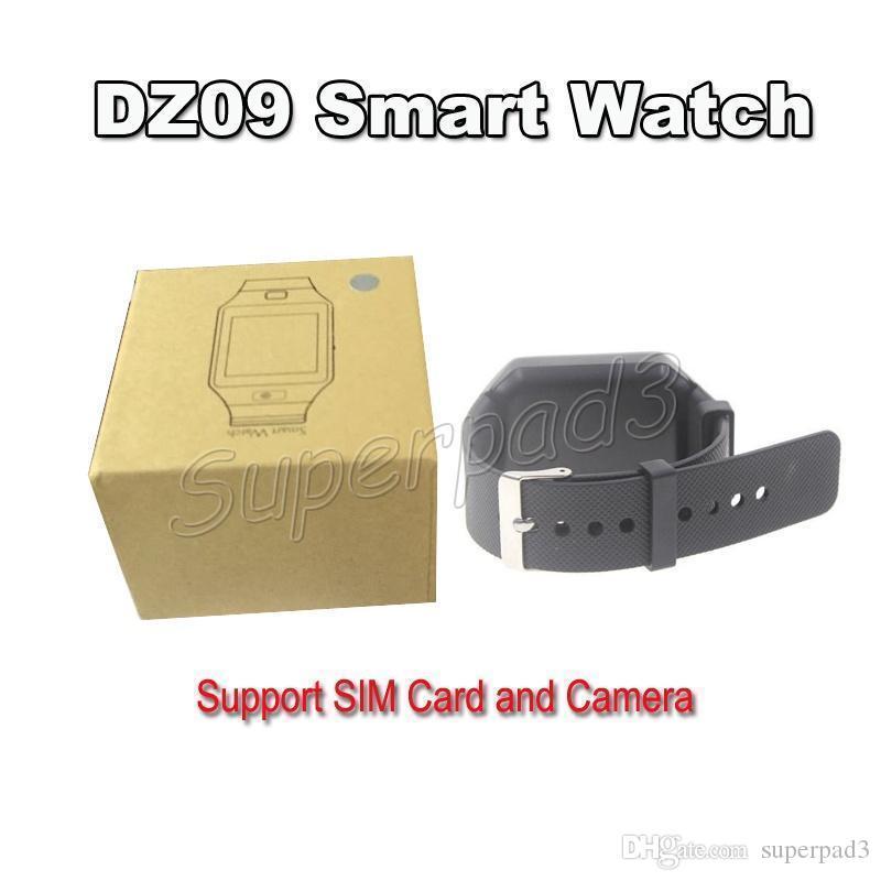 블루투스 스마트 시계 전화 DZ09 Android iOS 스마트 폰 SIM TF 카메라 SEDHENTARY 알림 유월계 방지 TPU 손목 밴드 SmartWatch
