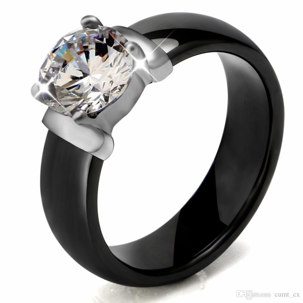 6mm branco preto anéis de cerâmica plus big cubic zirconia para mulheres de aço inoxidável anel de noivado de casamento mulheres jóias nunca se desvanece
