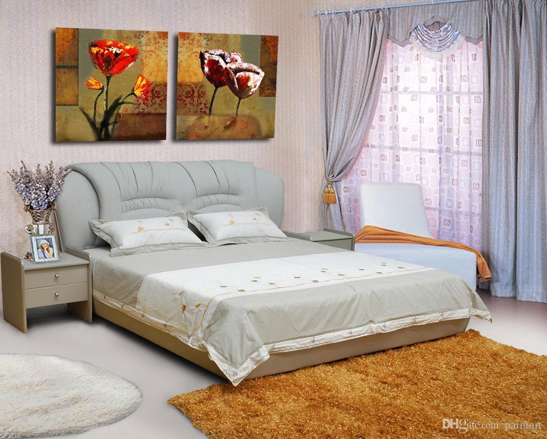 Hermosa pintura de la flor abstracta moderna moderna impresión giclée sobre lienzo Home Art decoración de la pared Set20034
