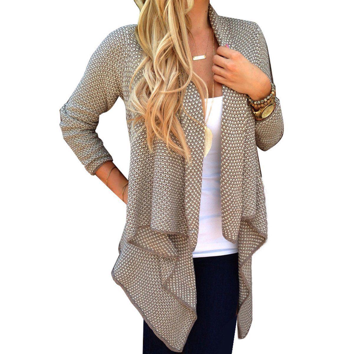 2017 Frühling Herbst Frauen Strickjacke Langarm Unregelmäßige Lose Beiläufige Strickwaren Pullover Mantel Tops Outwear Poncho Kimono Mantel Cape