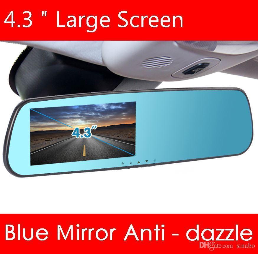 4.3 인치 블루 카 카메라 백미러 자동 dvrs 자동차 dvr 주차 레코더 비디오 registrator 캠코더 전체 hd 1080p 야간 시계 자동차 dvr