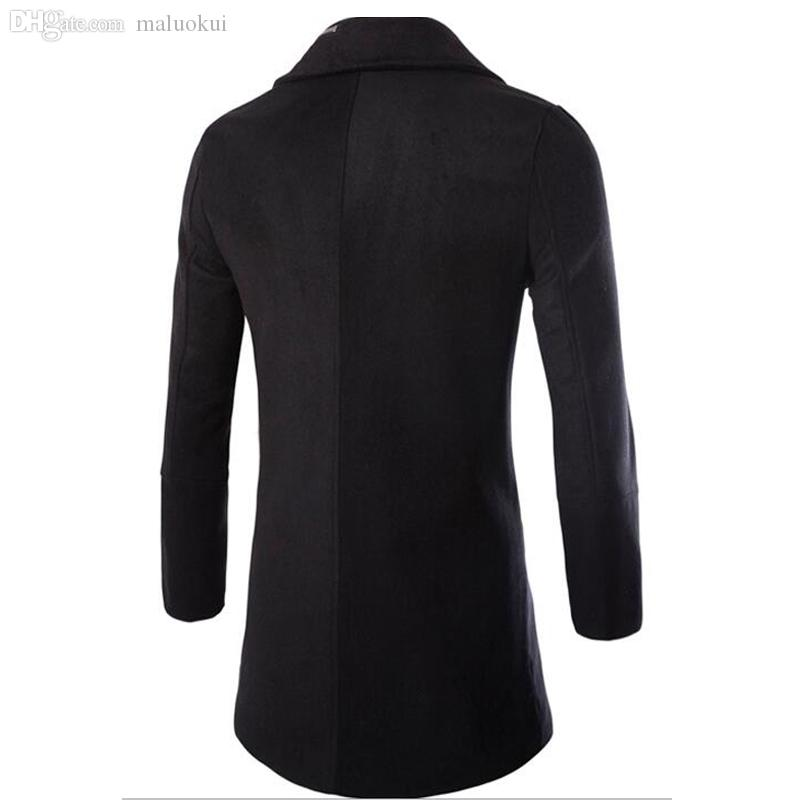 Fall-2016 Casual Moda Chaquetas y abrigos Duffle Abrigo con estilo estilo británico solo pecho al hombre abrigo de guía de lana abrigo