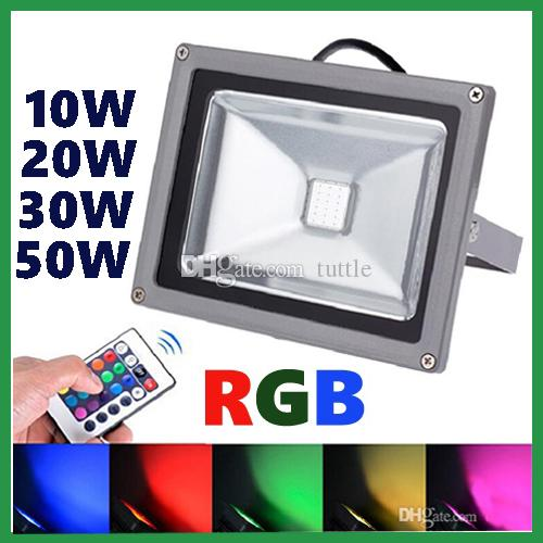 10W 20W 30W 50W Led RGB Proiettori caldo / Natrual / freddo Bianco Rosso Verde Blu Giallo Outdoor LED Flood giardino Light impermeabile + telecomando