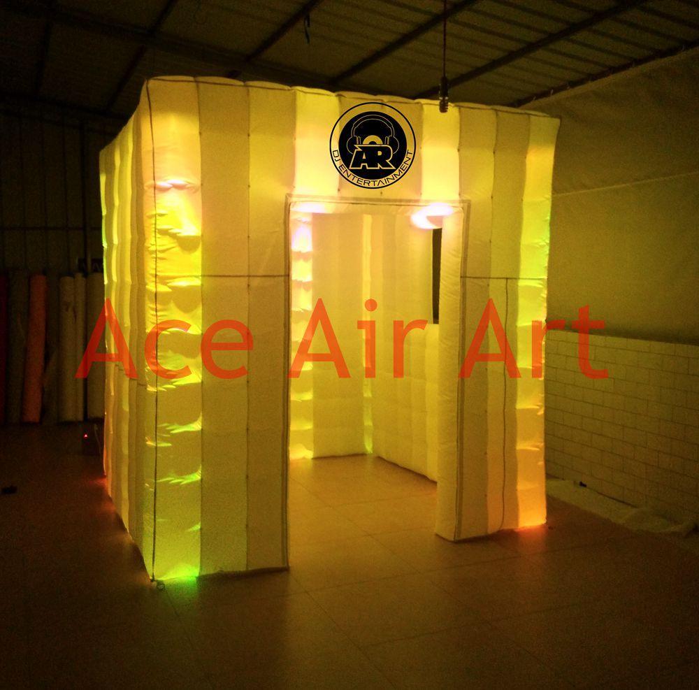 Frete grátis novo personalizado 16 colorido mudando DJ inflável photo booth inflagtable weding cabine com ventilador de ar livre