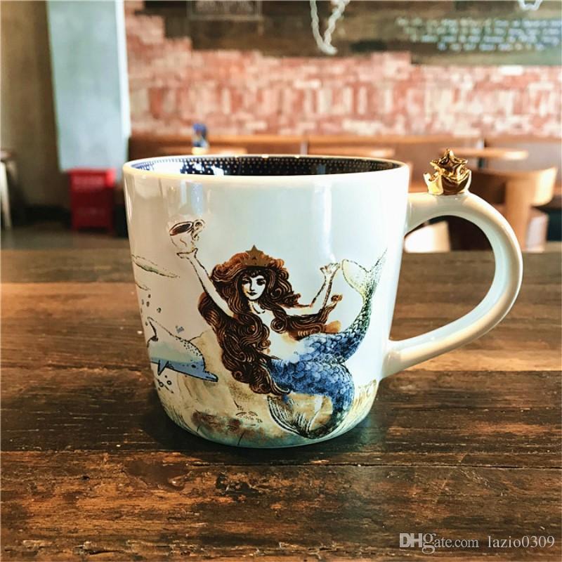Genuine Starbucks 2017 Anniversary Celebration Golden Crown Ocean Goddess Mug Mermaid Ceramics Coffee Cup Desktop Cup 355ml Unique Coffee Travel Mugs