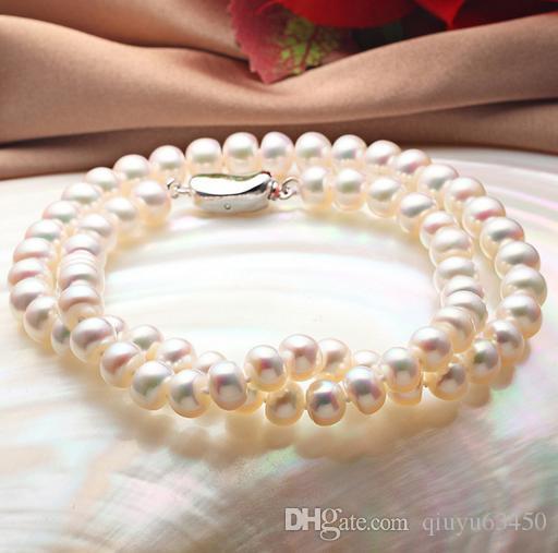 Gros 8-9 mm ovale blanc collier de perles d'eau douce naturelle 925 fermoir en argent