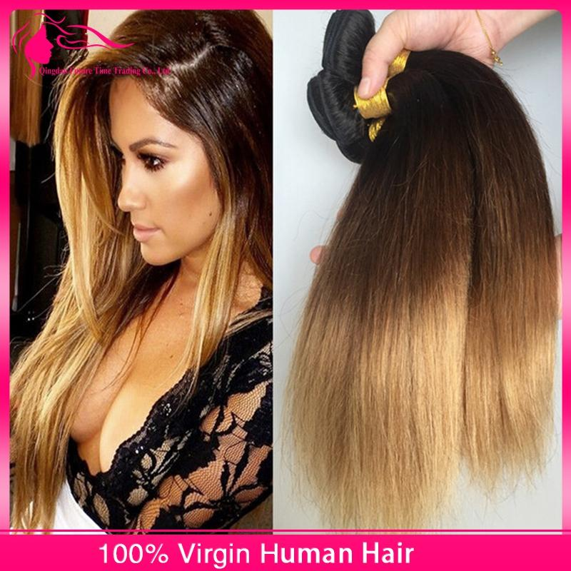 Grade 9A Vierge brésilienne Ombre Droite Extensions de Cheveux 3Pcs # 1B / 4/27 Miel Blonde Sombre Roots Ombre Cheveux Humains Weave Bundles 3pcs / lot