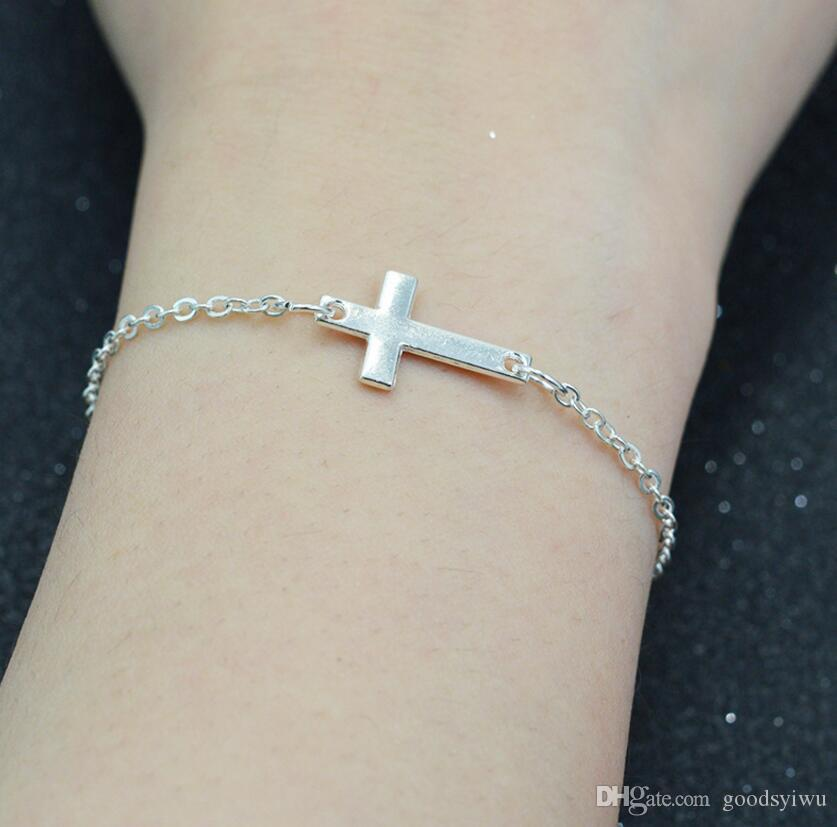 Simple Silver Cross Bracelet with Heart Charm Link Chain Silver/Gold for Women Fine Jewelry Wholesale