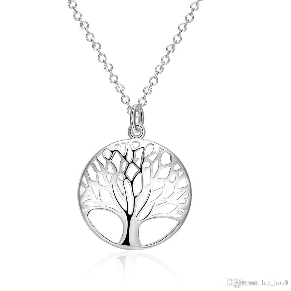 Жизнь дерева кулон ожерелье мода изысканное классическое серебро ожерелье 925 стерлинговые серебряные украшения для леди свадьба партии вовлечения аксессуар