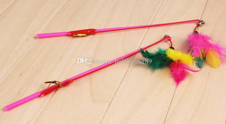 30cm Length Color Feather Tease Cat Toy with Bell Cute Pet Toys for Cats Drop Shipping Fast Delivery Time Free Shipping 100pcs/ lot