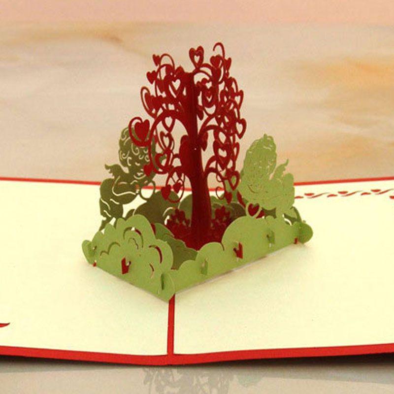 New Wish Tree Design Handmade Creative Kirigami & Origami 3D Pop UP Birthday Greeting Cards free shipping