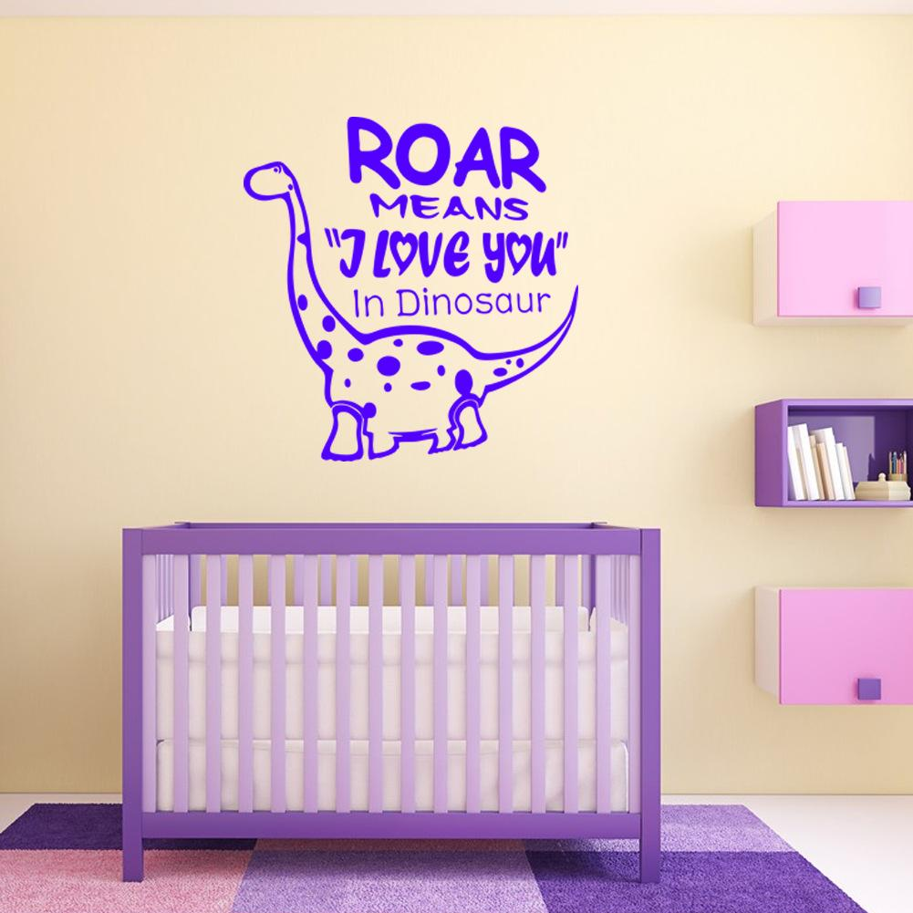 Cute Little Dinosaur Cartoon Wall Stickers for Kids Animals Wall Decal Mural Home Decoration 4 Colors Optional Removable High Quality