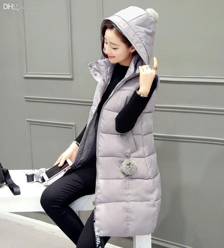 Wholesale-Winter Weste für Frauen 2016 Herbst Parka Weste Weste mit Kapuze lange verdicken Ärmel Mantel weibliche warme Kleidung Daunenweste Baumwolle