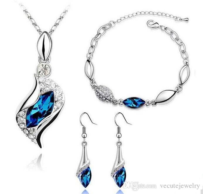 New Fashion 18K White Gold Plated Horse Eyes Austrian Crystal Necklace Bracelet Earrings High Quality Health Wedding Jewelry