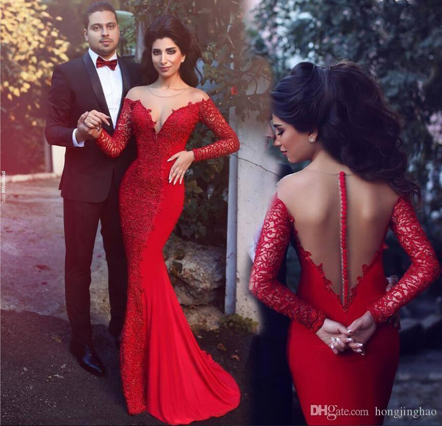 2019 New Style Red Mermaid Prom Dresses Jewel Long Sleeves Lace Formal Evening Gowns Sweep Train