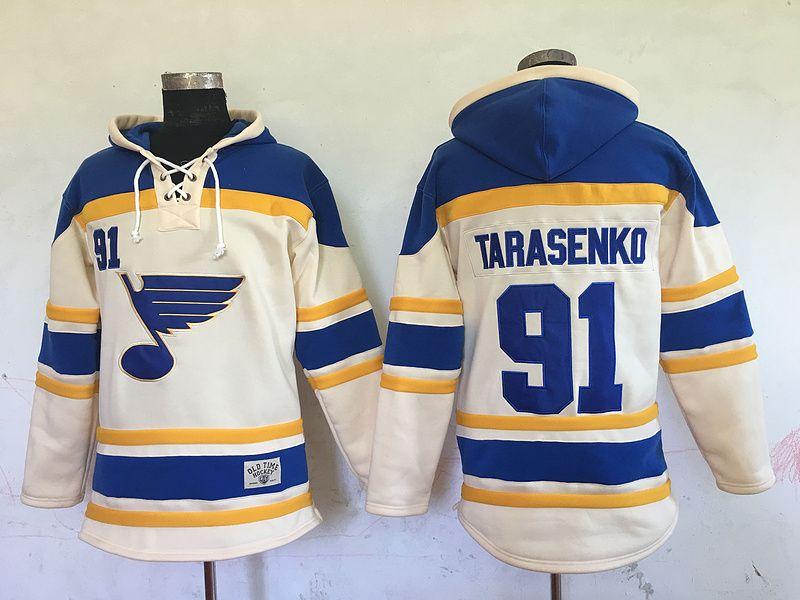 Alta calidad ! 2016 New Old Time Hockey Jerseys St. Louis Blues # 91 Vladimir Tarasenko Sudadera con capucha Pullover Deportes Chaqueta de invierno