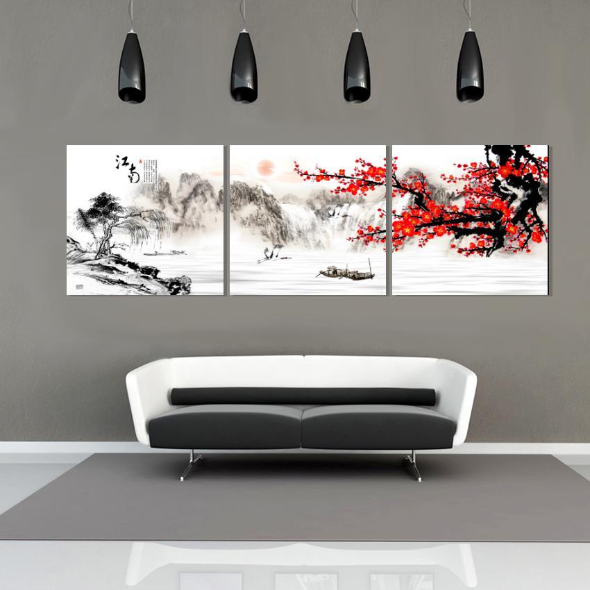 무료 배송 unframed 3Pieces 사진 캔버스 인쇄 중국어 스타일 유화 매화 산 배 문자 애플 티 폭포 연꽃