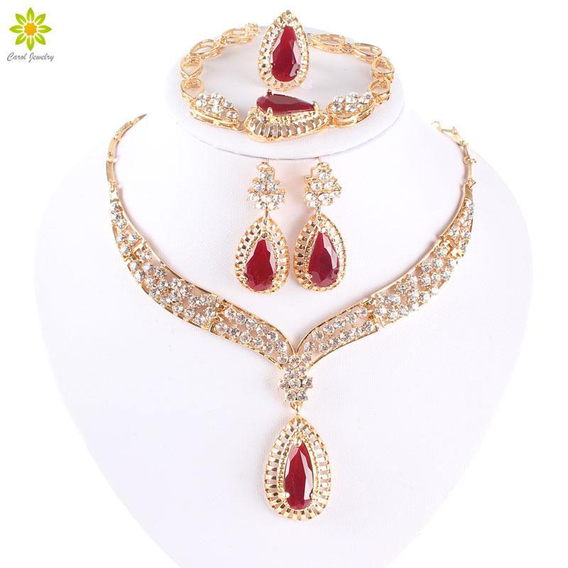 Mulheres Moda Grânulos Africano Brincos De Colar Definir água Gota De Ouro Banhado Jóias Conjunto para Drawsmaid Dubai Jewelry Conjuntos