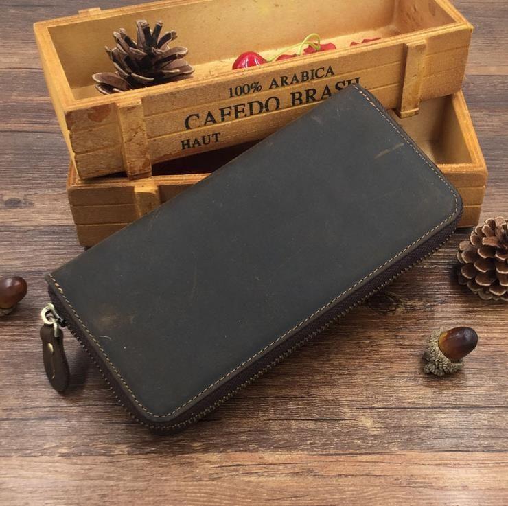 새로운 빈티지 정품 미친 말 가죽 망 긴 지퍼 지갑 카드 홀더 클러치 다크 브라운 럭셔리 지갑