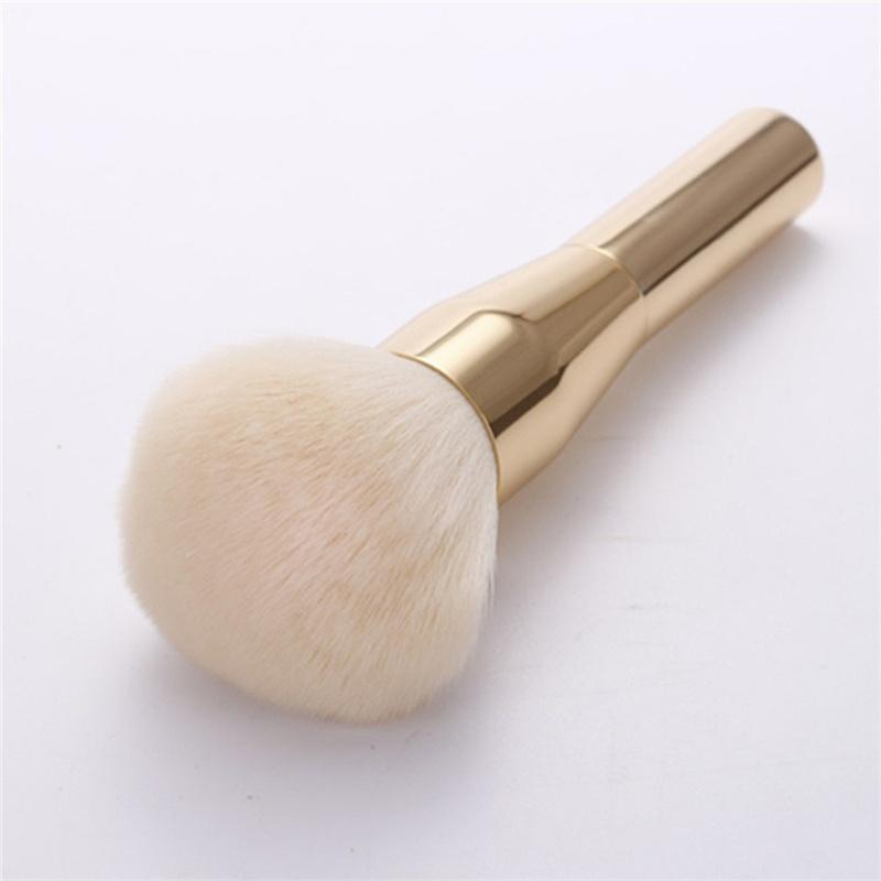 Polvo grande y suave Bursh Gold Face Powder Blush Brocha para maquillaje Bronzer Brush (Color: Gold)