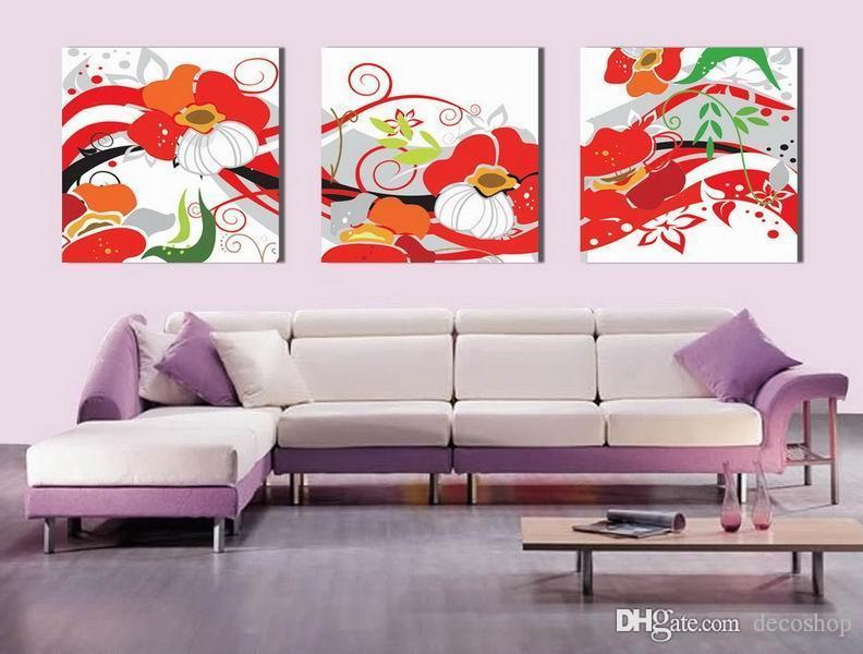 Modern Bela Flor Belas Floral Pintura giclée na lona Home Decor Wall Art Set30344