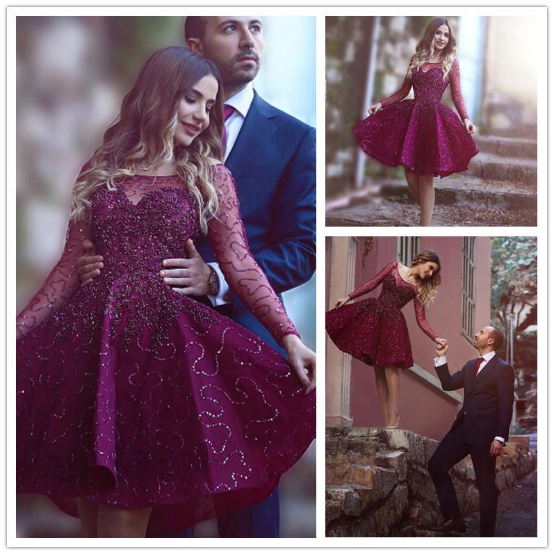 2016 Said Mhamad Grape Short Cocktail Dresses Long Sleeve Sequins ...