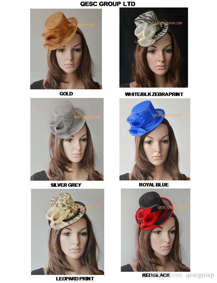 새로운 디자인 Sinamay Calla 백합을 가진 Sinamay 소형 탑 모자 매혹기. 신부 결혼식, 인종을위한 최선.