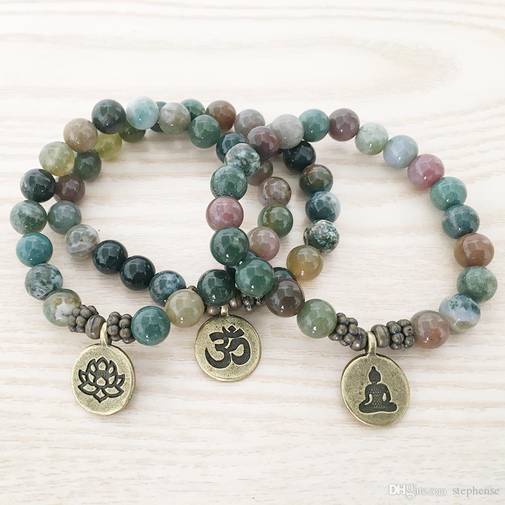 SN1110 Yeni Tasarım Erkekler Bilezik Hindistan Akik Ohm Lotus Buda Charm Bilezik Mala Yoga Takı Toptan Hediye O'na