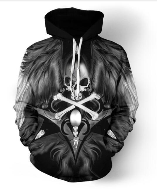 جديد أزياء الرجال / النساء هالوين الفن الجمجمة مضحك 3d سوياتشيرتس هوديس الخريف الشتاء عارضة طباعة مقنع بلوفرات القمم LM047