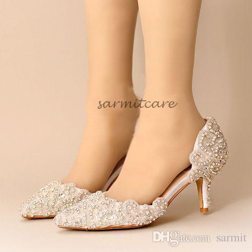 W017 handgemaakte shinning steentjes bedekt 7cm hoge hakken 4 kleuren strass bruiloft schoenen bruids schoenen roze rood witte hakken